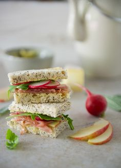 Prosciutto, Apple and Brie Tea Sandwiches with Sage Butter! These delicate little sandwiches would be a nice accompaniment for tea time