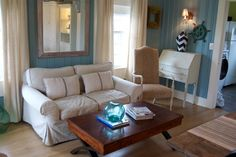 painted wood paneling - Love this color! Now...if we only lived on the beach ;)