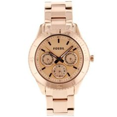 Fossil ES2859 Stella Plated Stainless Steel Watch - Rose Fossil. $105.00. Stainless steel case. Water-resistant to 50 M (165 feet). Case diameter: 37 mm. Scratch resistant mineral. Quartz movement