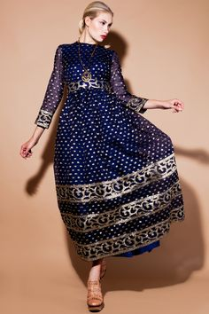 Shop Vintage | 70s I. Magnin Metallic Silk Maxi Dress | Thrifted & Modern