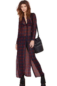 Classic Tartan Plaid Long Chiffon Shirt - OASAP.com
