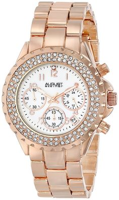August Steiner Women's Crystal Mother-Of-Pearl Chronograph Bracelet Watch >>> Discover this special product, click the image Gold Watch, Watch Bands, Chronograph, Rolex Watches, Bracelet Watch, Pearls, Crystals, Bracelets, Stuff To Buy