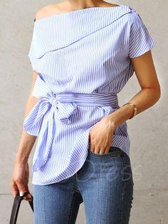 Tbdress.com offers high quality Lace-Up Slash Neck Short Sleeve Women's Blouse Blouses unit price of $ 11.99.
