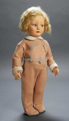 """Apples - An Auction of Antique Dolls: 51 Rare Italian Felt Character """"Nini"""" by Lenci with Embroidered Suit"""