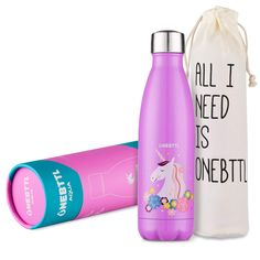 Unicorn Gifts, Unicorn Party Supplies, Stainless Steel Water Bottle, Kids Water bottle Double Wall Vacuum Insulated Thermo Bottle for Unicorn Party and Birthdays - Onebttl Aqua UnicornPower Glitter Water Bottles, Bpa Free Water Bottles, Fitness Tracker, Smartwatch, Unicorn Water Bottle, Water Kids, Drinking Water Bottle, Fitness Armband, Unicorn Party Supplies