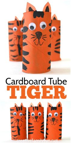 Grab some cardboard and paints to make this fun Cardboard Tube Tiger craft for kids. It& so much fun to make and play with! Grab some cardboard and paints to make this fun Cardboard Tube Tiger craft for kids. Its so much fun to make and play with! Cardboard Tube Crafts, Toilet Paper Crafts, Paper Roll Crafts, Paper Plate Crafts, Paper Crafts For Kids, Crafts For Kids To Make, Crafts For Girls, Fun Crafts, Simple Kids Crafts