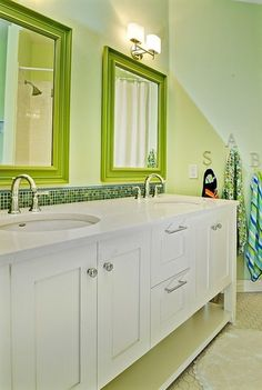 Kid's Bath - contemporary - bathroom - boise - Judith Balis.....punch it up with a colored mirror!