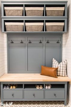 Who doesn't need an organized space to hang all the things and house all the shoes? We finished our IKEA Hemnes Hack: DIY Mudroom Bench and Storage unit in our (almost finished) Mudroom/laundry room, Ikea Entryway, Ikea Mudroom Ideas, Mudroom Benches, Entryway Ideas, Ikea Bench, Bench Decor, Ikea Hallway, Garage Entryway, Hallway Bench
