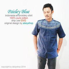 Eid Muslim Blue Cotton Embroidery Clothing Short Tunic by aboyshop, $33.33