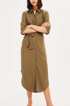 Khaki Button Front Self-Tie Curved Hem Shirt Dress Khaki Shirt Dress, Midi Shirt Dress, Casual Chic Summer, All Fashion, Style Fashion, Half Sleeves, Work Wear, Topshop, Dresses For Work