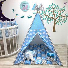 Стильный серо-голубой вигвам для деток.Шалаш, палатка. домик – купить или заказать в интернет-магазине на Ярмарке Мастеров   Вигвам это идеальное решение для подарка любимым…