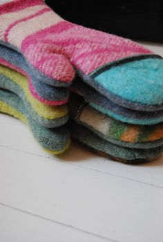 Upcycled blanket into mittens or an oven mitt…? Works for both!