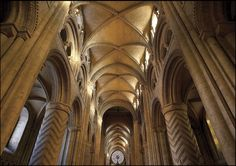 Durham Cathedral, Northern England  (note: groin vault, crisscrossing rounded ribs, vault crown height = transverse arch keystone)