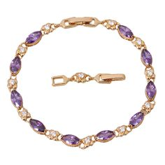 Find More Charm Bracelets Information about New 2016 So Shining ! Purple zircon Amethyst  Bracelet 18K Yellow Gold  Plated Flower Styles Bracelet  fashion jewelry B126,High Quality jewelry 3d,China jewelry macrame Suppliers, Cheap jewelry europe from Dana Jewelry Co., Ltd. on Aliexpress.com