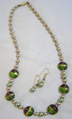 Mardi Gras Necklace and Earring Set by sticksandstones4 on Etsy, $14.00