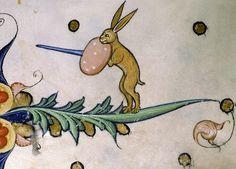 rabbit warrior Pontifical of Guillaume Durand, Avignon, before 1390. Paris, Bibliothèque Sainte-Geneviève, ms. 143, fol. 52r
