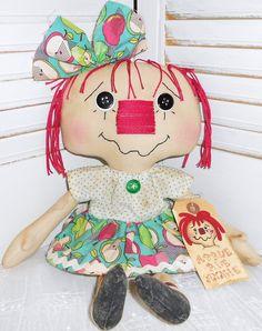 Apple Pie Annie Handmade Primitive Raggedy Ann by raggedyjaynes, $24.00
