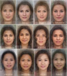 """Experimental psychologists at the University of Glasgow in Scotland used pictures of hundreds of women from 41 different countries and ethnicities to approximate the """"average face"""" of each country. Different Countries, Countries Around The World, People Around The World, Around The Worlds, Face Reference, Anatomy Reference, Drawing Reference, Globe Picture, Average Face"""