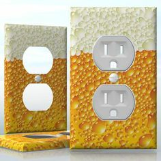 DIY Do It Yourself Home Decor - Easy to apply wall plate wraps | Beerphone  Bubbling brew  wallplate skin sticker for 1 Gang Wall Socket Duplex Receptacle | On SALE now only $3.95 Do It Yourself Home, Light Switch Covers, Plates On Wall, Decals, Bubbles, Wraps, Stickers, Easy, Design