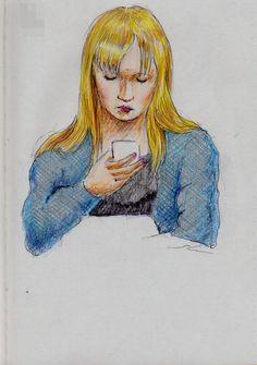 金髪のお姉さん(通勤電車でスケッチ) It is a sketch of the Japan women who dyed their hair blond. She was wearing a dark blue cardigan.  I drew in a commuter train.