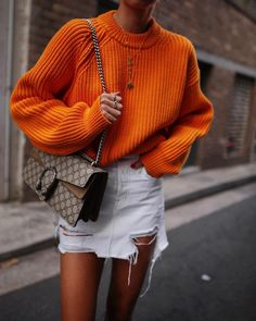 "10.8k Likes, 101 Comments - Andy Csinger (@andicsinger) on Instagram: ""That orange knit 🍊// #acnestudios knit & #jbrand skirt from @shopbop #shopboplovesau"""