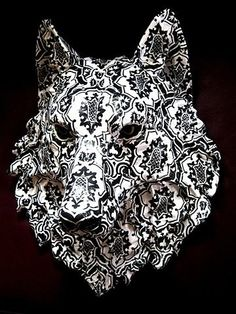 wolf mask, would love to see what this would look like on a fully costumed person. Creepy, Wolf Mask, Ceramic Mask, She Wolf, Big Bad Wolf, Cosplay, Sculpture, Art Design, Werewolf