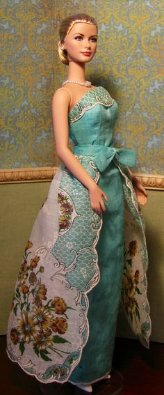 OOAK Silkstone Barbie doll dress with detachable overskirt made from two vintage hankies