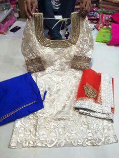 White blue red salwar suit