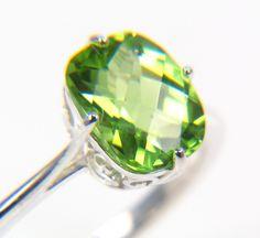 Everetts Birthstone  SALE Peridot Ring - Silver Peridot Ring - August Birthstone Ring - Gift for Her - Fine Jewelry Gemstone Ring. $208.00, via Etsy.