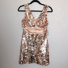 """Champagne Rose Gold Sequin Party Dress NWT Champagne Rose Gold Sequin Embellished Party Dress. Add sparkle to your wardrobe with this gorgeous dress. Measures approx. 30"""" length. Condition: NWT. Never worn (didn't fit me, too big so unable to model). Final sale. Sold as is. No Trades. Forever 21 Dresses Mini"""