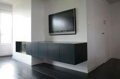 combinatie haard/tv meubel gelakt in asgrijs