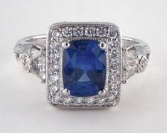 James Allen 18K White Gold - 1.91ct Cushion- - Blue Sapphire - Cygnus Engagement Ring