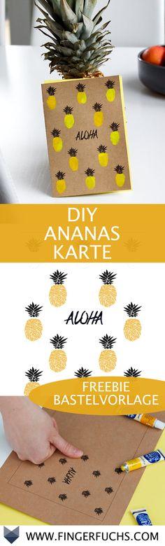 DIY Ananas Karte zum Selbermachen mit deinem Fingerabdruck. Super zum Basteln mit Kindern.