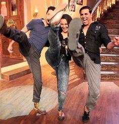 Imran Khan, Sonakshi Sinha and Akshay Kumar do the iconic 'Khiladi' kick! on 'Comedy Nights with Kapil' #Bollywood #Fashion