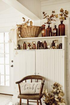 Amber Bottles & Cotton Fall Decor - New Ideas Fall Home Decor, Autumn Home, Amber Bottles, Amber Glass, Autumn Decorating, Decorating Rooms, Fall Pillows, Cool Ideas, Seasonal Decor