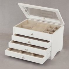 White Wooden Jewelry Box with See Through Lid - 11.75W x 8H in.