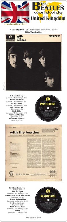 The Beatles UK LP Parlophone PCS 3045 With The Beatles Stereo Vinyl Record Long Play Discography