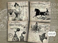 FRENCH VINTAGE  - Printable ArtCult Images Digital Collage Sheet for Coasters, Greeting cards, Magnets, Gift tags, Scrapbook