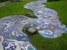 Mosaic pathway in community garden.