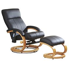Luxury Leather Massage Chair and Foot Stool Swivel 360° Recliner.