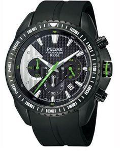 Pulsar PT3275 Chronograph Black Dial Black Rubber Band Mens Watch