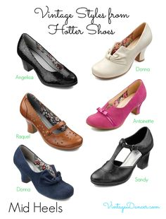Retro vintage Hotter shoes. Many of these would look great with 1940s and 1950s styles. VintageDancer.com