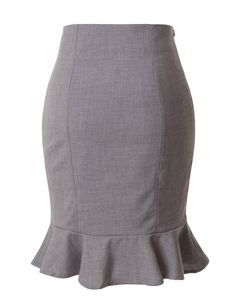 This fitted high waisted pencil midi skirt is a great staple item for business professional attire. Tuck your favorite blouse under this pencil skirt with a pair of heels. For a casual look pair with a cardigan and ballet flats. Feature - 95% Polyester / 5% Spandex - Lightweight, stretchy fabric for comfort - Back zipper - Ruffle at the bottom hem - Hand wash cold / Do not bleach / Low iron / Do not wring - Please look at the measurements below for guidance Click Here to View Size Chart Cute Skirts, Work Skirts, Business Professional Attire, Denim Shirt Style, African Fashion Dresses, Gray Pencil Skirts, Skirt Outfits, Ballet Flats, Midi Skirt