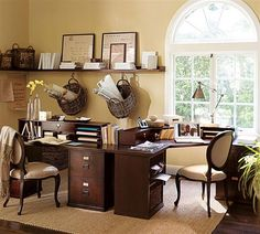 Brown Ideas - A Comfortable Home Office Complete with Office System Component and Modern Interior Design
