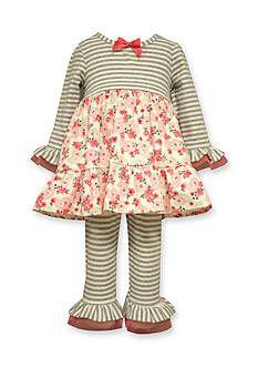 Bonnie Jean Floral Stripe Legging Set Toddler Girls