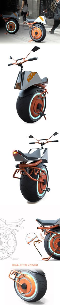 The KTM Unicycle is an all-electric, one-wheeled wonder that utilizes current gyroscopic tech to stay balanced. It really does look like half a normal KTM with its signature bright orange bodywork, thick sportbike tire, lights and handlebars.