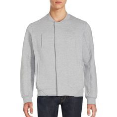 Standard Issue NYC Long Sleeve Cotton-Blend Jacket ($35) ❤ liked on Polyvore featuring men's fashion, men's clothing, men's outerwear, men's jackets, grey, mens grey jacket and mens jackets