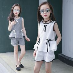 Casual Sleeveless Cotton Children's Sets Striped Bowknot Tank Tops Shorts Two-piece Toddler Girl Outfits Vetement Enfant Fille