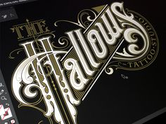 Hallows wip 2 logotype tattoo typography lettering hand sketch hallows the schmetzer Typography Drawing, Typography Letters, Typography Logo, Vintage Fonts, Vintage Typography, Graphics Vintage, Vector Graphics, Typography Inspiration, Graphic Design Inspiration