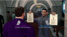 """In Saints Row you have to choose between """"Cure Cancer"""" or """" Feed Hungry"""" early in the game. Both are important, but which one will you choose? Saints Row 4, Cancer Cure, Funny Games, Funny Pins, Earn Money, The Row, The Cure, Guys, Gaming"""